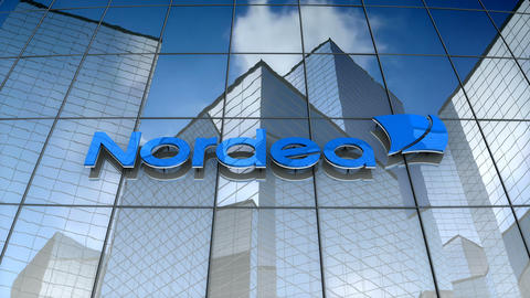 Editorial, Nordea Bank AB logo on glass building Animation