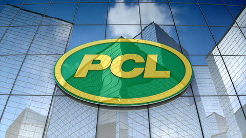 Editorial, PCL logo on glass building Animation