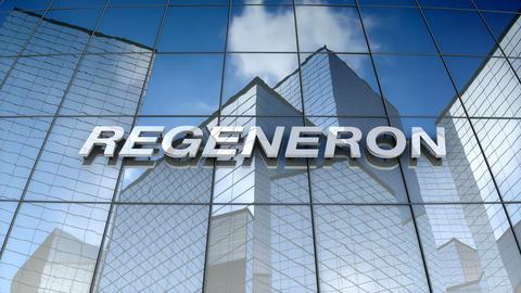 Editorial, Regeneron Pharmaceuticals, Inc. logo on glass building Animation