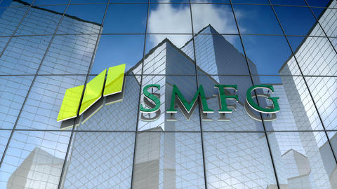 Editorial, Sumitomo Mitsui Financial Group logo on glass building Animation