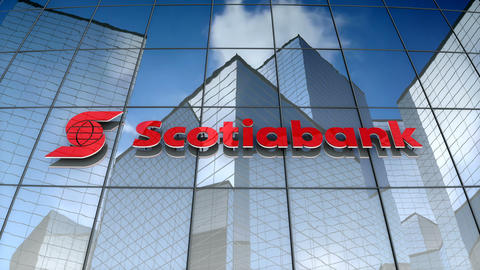 Editorial, The Bank of Nova Scotia logo on glass building Animation