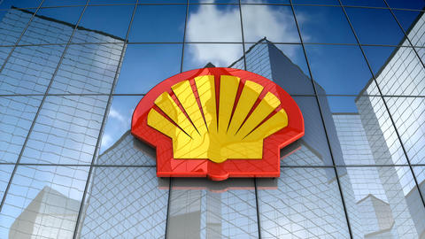 Editorial, Royal Ducth Shell plc logo on glass building Animation