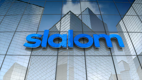 Editorial, Slalom logo on glass building Animation