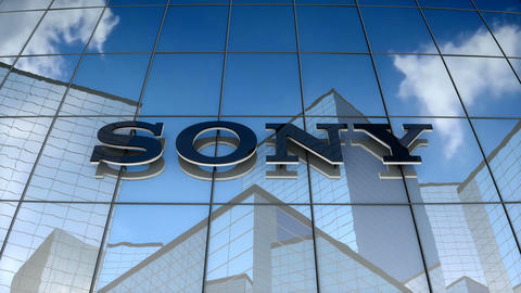 Editorial, Sony Corporation logo on glass building Animation