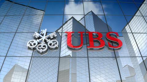 Editorial, UBS AG logo on glass building Animation