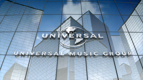 Editorial, Universal Music Group logo on glass building Animation