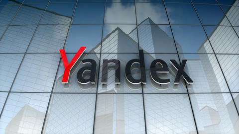 Editorial, Yandex logo on glass building Animation