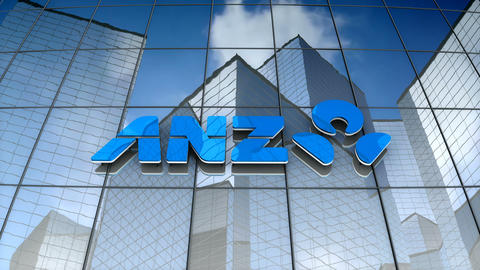 Editorial, Australia and New Zealand Banking Group Limited logo on glass Animation