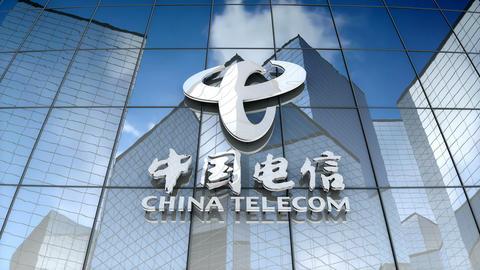 Editorial, China Telecom Corp. Ltd. logo on glass building GIF