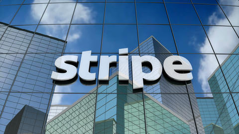 Editorial, Stripe logo on glass building Animation