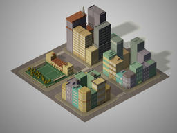 Low-poly Urban Blocks 3D Model