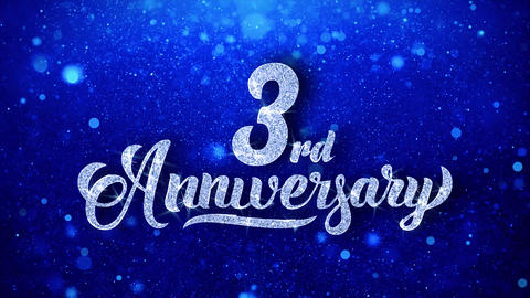 3rd Anniversary Wishes Blue Glitter Sparkling Dust Blinking Particles Looped Animation