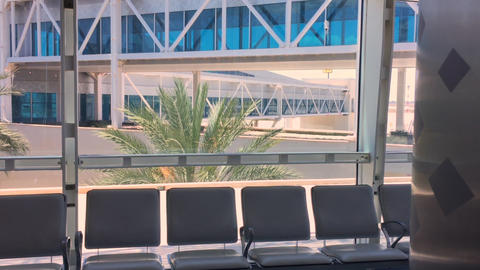 Airport terminal window view to outside. Empty aeroport... Stock Video Footage