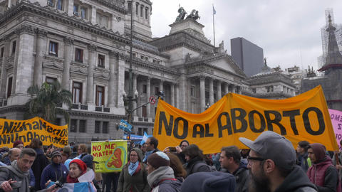 Demonstrators against abortion march in front of Buenos Aires Congress Live Action