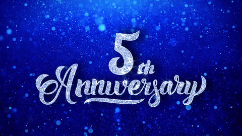 5th Anniversary Wishes Blue Glitter Sparkling Dust Blinking Particles Looped Animation