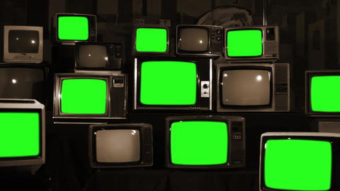Many Tvs Green Screens. Sepia Tone. Zoom Out. Aesthetics of the 80s GIF