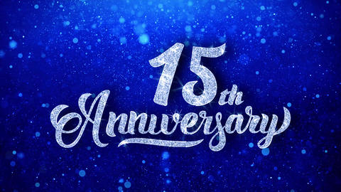 15th Anniversary Wishes Blue Glitter Sparkling Dust Blinking Particles Looped Animation
