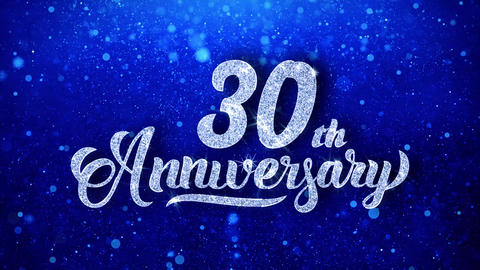 30th Anniversary Wishes Blue Glitter Sparkling Dust Blinking Particles Looped Animation