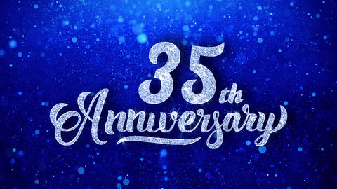 35th Anniversary Wishes Blue Glitter Sparkling Dust Blinking Particles Looped Animation