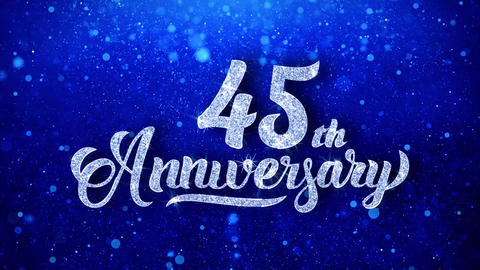 45th Anniversary Wishes Blue Glitter Sparkling Dust Blinking Particles Looped Animation