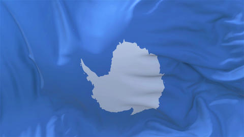 Antarctica Flag in Slow Motion Smooth blowing in wind seamless loop Background Animation