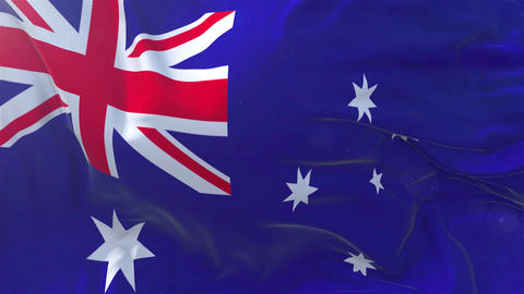 Australian Flag in Slow Motion Smooth blowing in wind seamless loop Background Animation