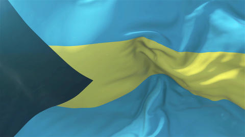 Bahamas Flag in Slow Motion Smooth blowing in wind seamless loop Background Animation