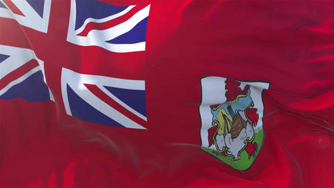 Bermuda Flag in Slow Motion Smooth blowing in wind seamless loop Background Animation