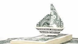 Sailing ship origami made of dollars Footage
