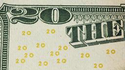 Twenty dollar bill close up Footage