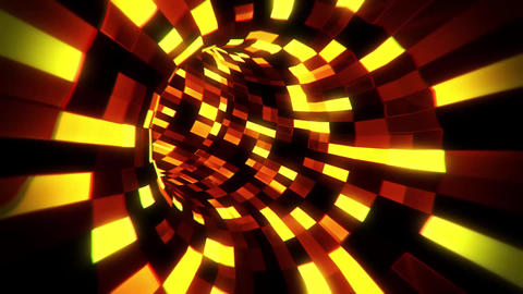 3D Gold Sci-Fi Arificial Intelligence Tunnel - VJ Loop Motion Background CG動画素材