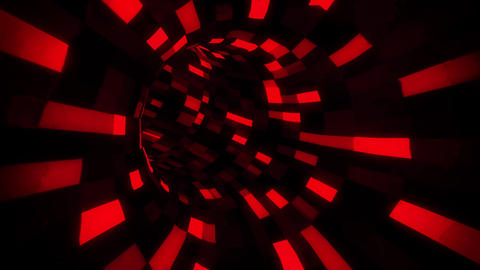 3D Red Sci-Fi Arificial Intelligence Tunnel - VJ Loop Motion Background Animation