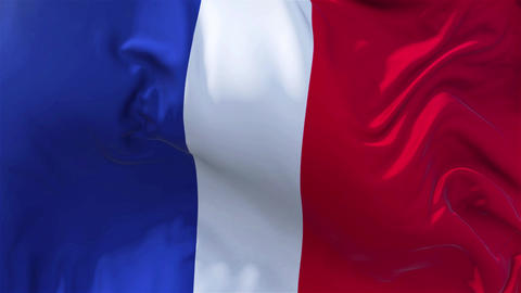 France Flag in Slow Motion Smooth blowing in wind seamless loop Background Animation