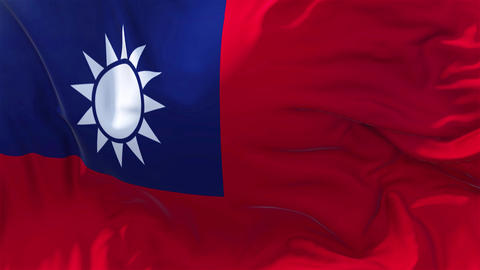 Taiwan Flag in Slow Motion Smooth blowing in wind seamless loop Background Animation