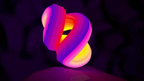 Animation of an abstract logo neon shape rotation. Seamless loop motion design Footage