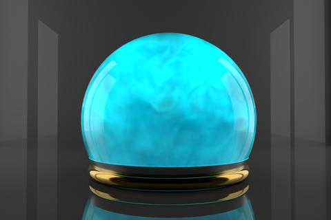 Crystal ball with fume inside and particles motion. Cyan color gas inside a Fotografía