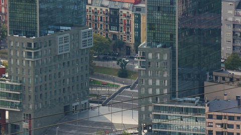 Residential buildings known as Twin towers in Bilbao, modern architecture, Spain Footage