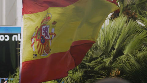 Spanish flag fluttering in wind, national symbol of country, patriotic feelings Live Action