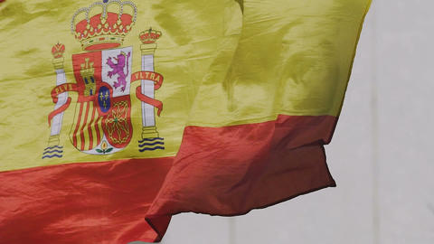 Spanish state flag rojigualda fluttering, national symbol of country, patriotism Live Action