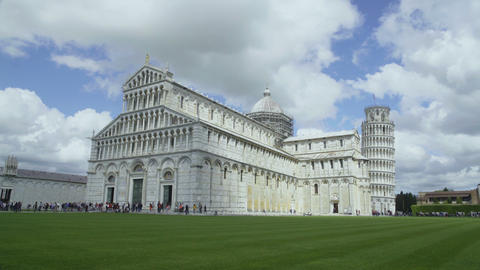 Beautiful view of Roman Catholic Cathedral with leaning Tower of Pisa, tourism Footage