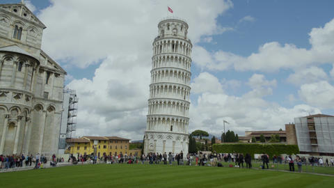 Tourists walking near popular landmarks in Italy, Pisa tower and church, tourism Footage