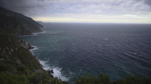 Great cliff coastline scenery of Cinque Terre, view on Mediterranean sea Footage
