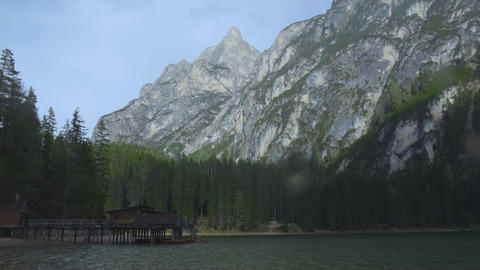 Stunning view of lake house and Dolomites mountains, South Tyrol, Lake Prags Footage