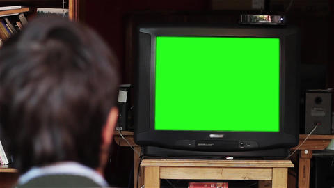 Man Watching Tv (Television) with Green Screen - Living Room Footage