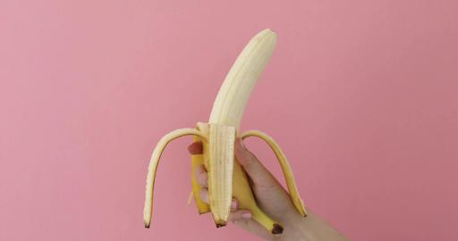 Human Hand Holding Banana Fruit Nutrition Live Action