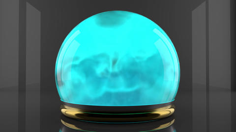 Crystal ball with fume particles motion. Cyan color gas inside a glass sphere 영상물