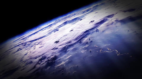 Sun Rays Above The Planet Earth. Earth's Atmosphere GIF