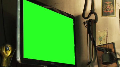 Green Screen Television in a Bar. Close-Up Live Action