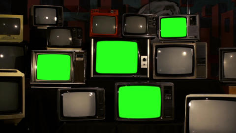 80S Televisions With Green Screens That Turn On. Gold Tobacco Tone Live Action