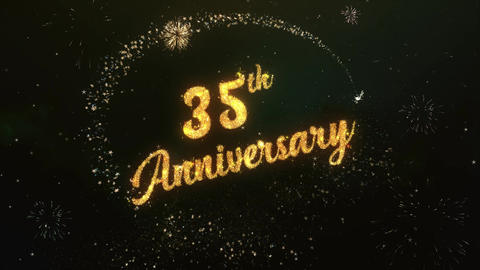 35th Anniversary Greeting Text Made from Sparklers Light Colorfull Firework Animation